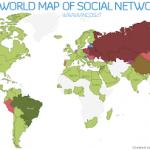 Mapa das redes sociais no mundo e suas presenças